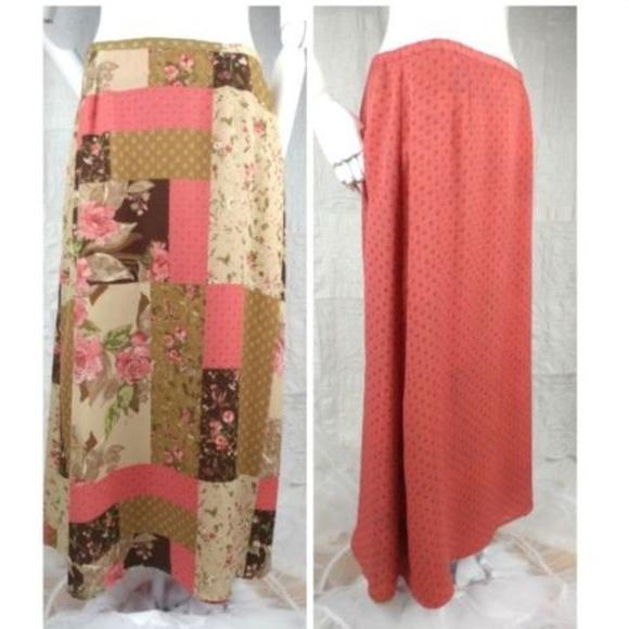 Sheer Floral Pleated Long Maxi Boho Skirt Hippie Peasant Hawaiian Retro Vintage Women's Clothing